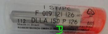 Распылитель: DLLA 150 P126 или CDLLA 150 P 126 Или оригинал от BOSCH : F 019 121 126 Артикул медного уплотнительного кольца под гайку распылителя: 1112012-X2 Или можно отжечь на огне до красна старое. - F 019 121 126 DLLA150P126 F019121126.png