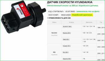 Aртикул: VS-SP 08900 Русский датчик скорости  - VS-SP 08900.png